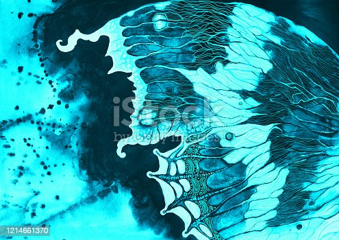 istock Fashionable summer illustration allegory modern art l watercolor painting flying butterfly with a bright decorative wing against the backdrop of the blue sky from the drops of the current watercolor in blue colors on paper 1214661370