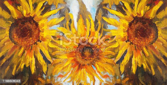 Fashionable summer illustration allegory modern art work my original oil painting on canvas horizontal still life impressionism three blooming large yellow sunflower against the background of green stalks of plants and a bright blue sky