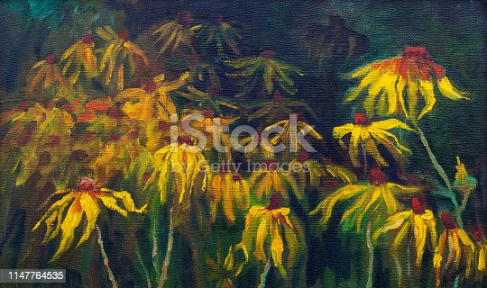 Fashionable summer illustration flowers modern art my original oil painting on canvas impressionism still life Rudbeckia hirta blooming in a flowerbed against a background of grass of leaves of stalks and buds of plants