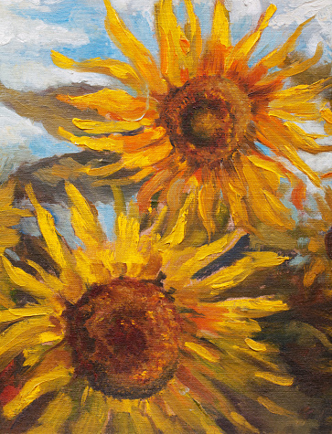 Fashionable summer illustration modern art work my original oil painting on canvas still life two blooming large yellow sunflower against the background of green stalks of plants and a bright blue sky