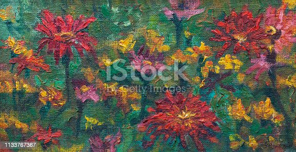 Fashionable summer illustration modern art work my original oil painting on canvas flowers horizontal landscape blooming zinnia elegant and calendula medicinal on a garden flowerbed against the green grass of the leaves and stems of other plants