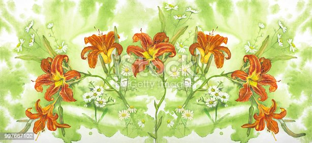 Fashionable summer illustration of a watercolor painting of an inflorescence of orange lilies outdoors on an abstract background