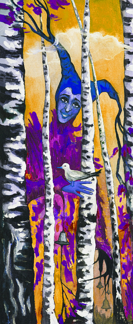 Fashionable vertical illustration allegory of autumn modern art original oil painting on canvas landscape birch trees and human figure forest fairy creature Harlequin holding a bird in the hands autumn  forest of  trees and sunny sky and clouds