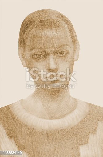 Fashionable vertical illustration modern art work my original pencil sepia drawing on paper portrait of a young beautiful tender sad girl with a smooth hairstyle and long blond hair in a woolen sweater with an ornament on a white background