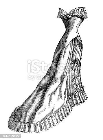 istock Fashionable wedding satin skirt dress- Victorian Engraving 1062858356
