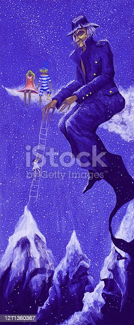 istock Fashionable winter Christmas illustration  work of art allegory oil painting  symbol vertical portrait impressionism figure of an elderly man and children  on a decorative evening background of a landscape of falling snow of white mountain peaks in  blue 1211360367
