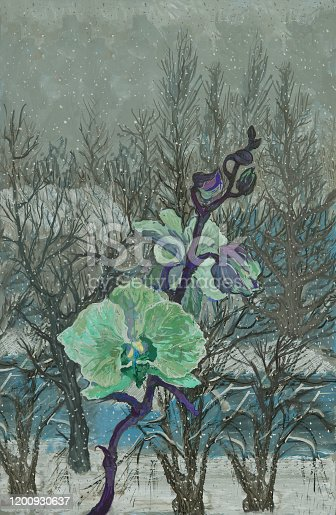 Fashionable winter illustration allegory for Valentines day modern work of art in the style of impressionism my original oil painting on canvas vertical winter cold snow landscape outside the window and blooming  blue orchid on the warm window of the house against the light gray winter sky and falling snow
