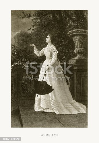 Very Rare, Beautifully Illustrated Antique Engraving of Fashionable Woman Saying Good Bye Victorian Engraving, 1879. Source: Original edition from my own archives. Copyright has expired on this artwork. Digitally restored.