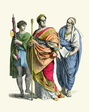 Vintage illustration Fashions of Ancient Rome, Lictor carrying fasces, Emperor, Offical