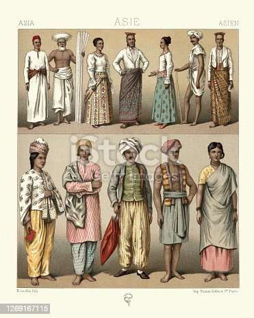 Vintage illustration of Fashions of Asia, Sinhalese, Maldivans, Kandian, Hindus, 19th Century period costumes. Noblrs, lower classes, sailor. Skullcap, beret, sari, sandals