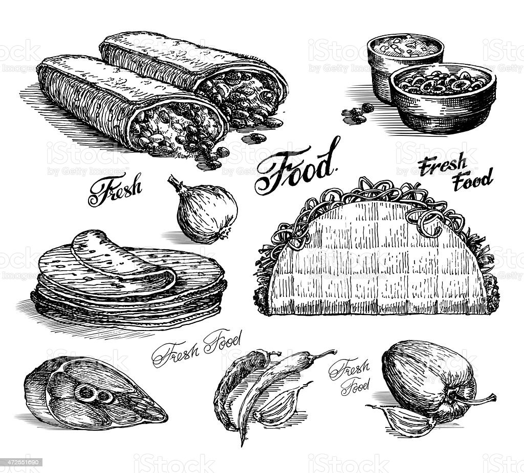 Vetores De Comida Rapida Burritos E Tacos Em Branco Desenho Em