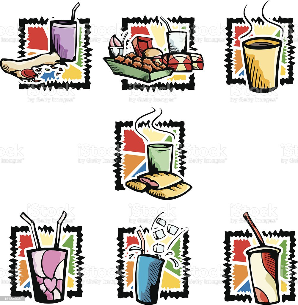 A set of seven vector illustrations of fast food drinks.