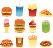 12 vector icons of fast food.