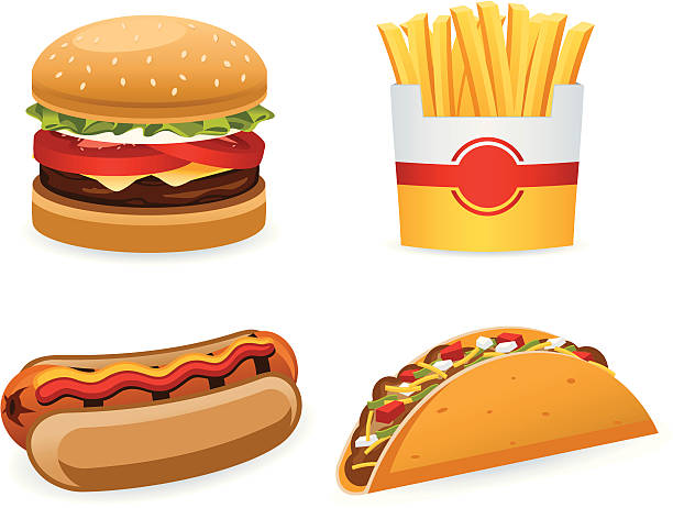 Fast Food Fast food items. All colors are global. Gradients used. french fries stock illustrations
