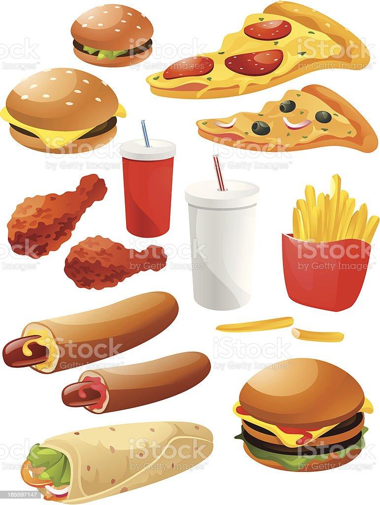 Paquete de comida rápida ilustración de paquete de comida rápida y más banco de imágenes de aceituna libre de derechos