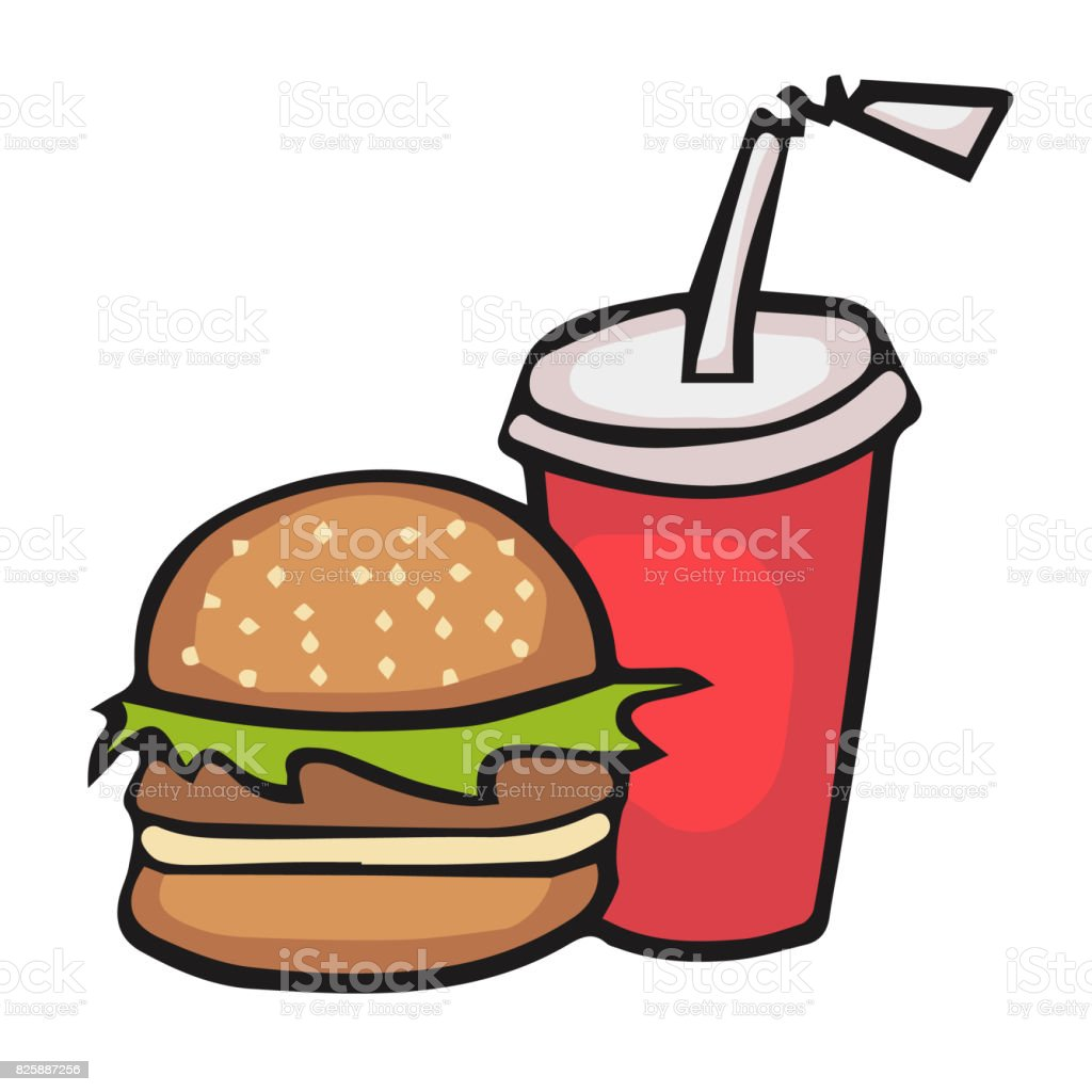 Fast Food Symbols Stock Vector Art More Images Of Abstract