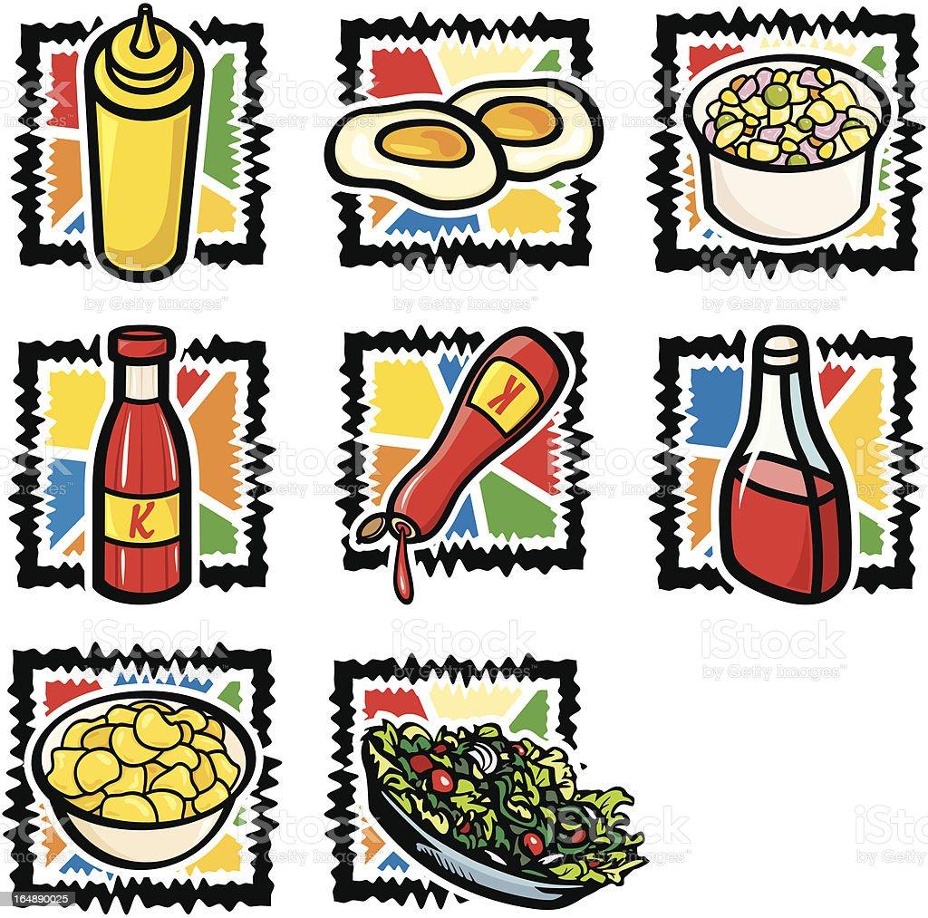 Fast Food X: Salads and Ketchups (Vector) royalty-free stock vector art