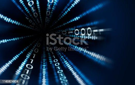 istock Fast Motion of Binary Code Stream 1160824924