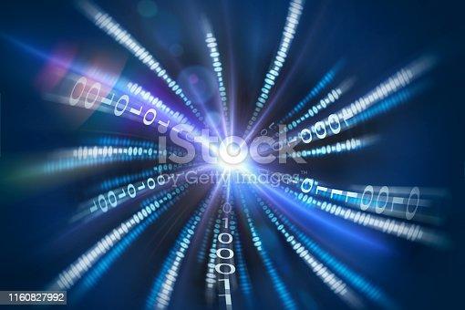 istock Fast Motion of Binary Code Stream 1160827992