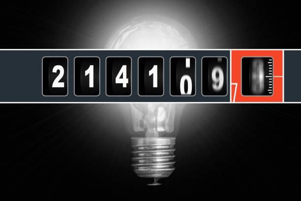 ilustraciones, imágenes clip art, dibujos animados e iconos de stock de medidor de electricidad corriente rápido y brillante bombilla de luz - amperímetro