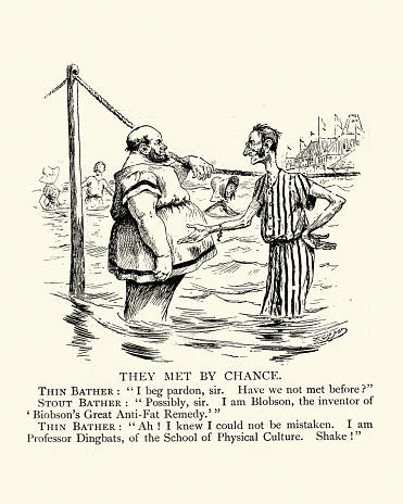 Fat and thin, they met by chance, Victorian satirical cartoon