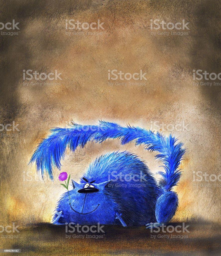 Fat Blue Cat Holding small Flower vector art illustration