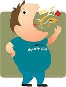 Fat man eating