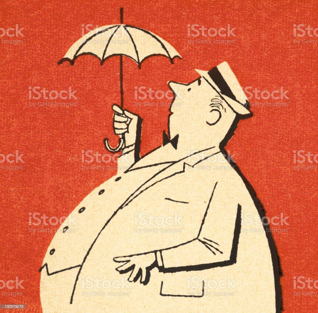 Fat Man Holding Tiny Umbrella Stock Illustration - Download