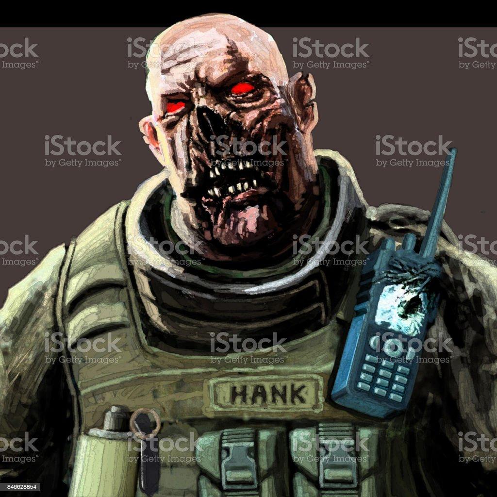 Yağ Zombie Asker Resim Renk Stok Vektör Sanatı Baskı Sanatınin