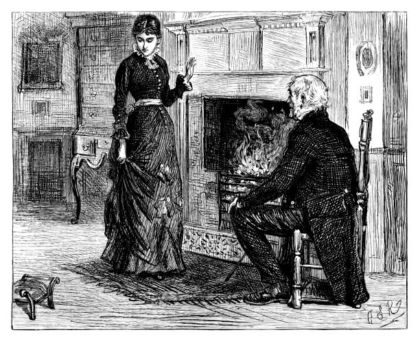 father and daughter talking by the fireplace - old man standing drawings stock illustrations, clip art, cartoons, & icons