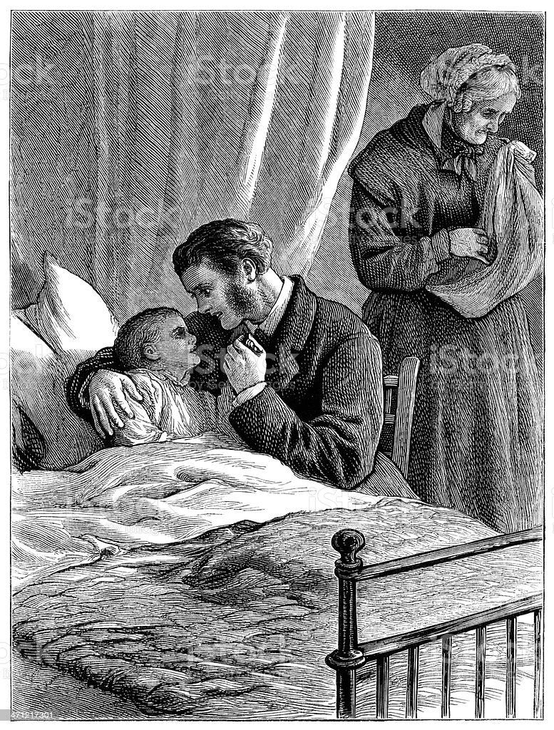 Father and grandmother worrying about sick child (Victorian illustration) royalty-free father and grandmother worrying about sick child stock vector art & more images of 1880