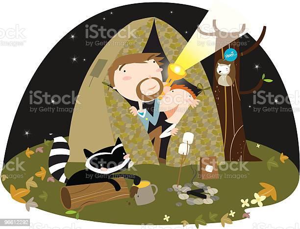 Father And Son Camping In Tent At Night-vektorgrafik och fler bilder på Barn