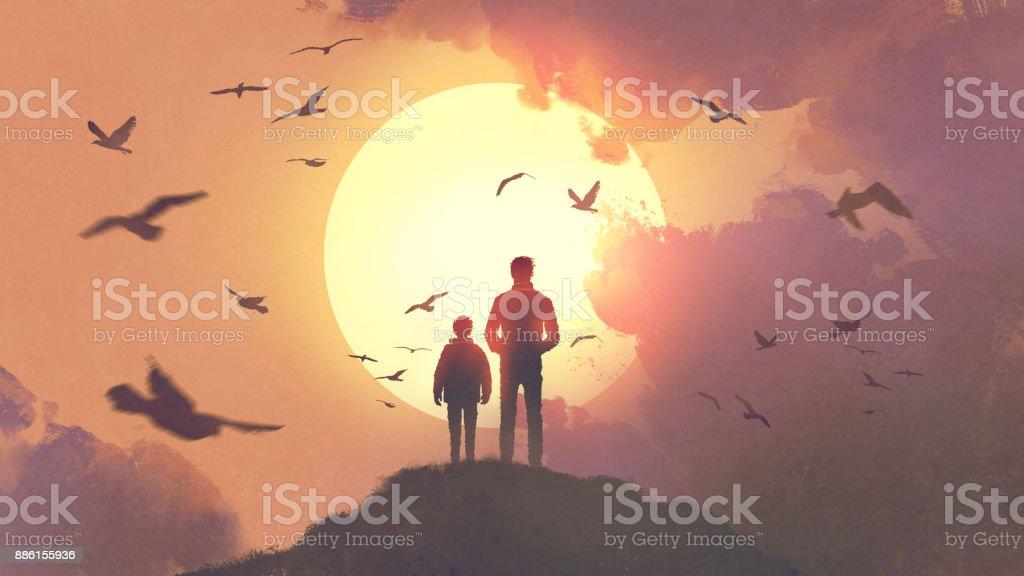 pai e filho, olhando para o nascer do sol - Ilustração de Adulto royalty-free