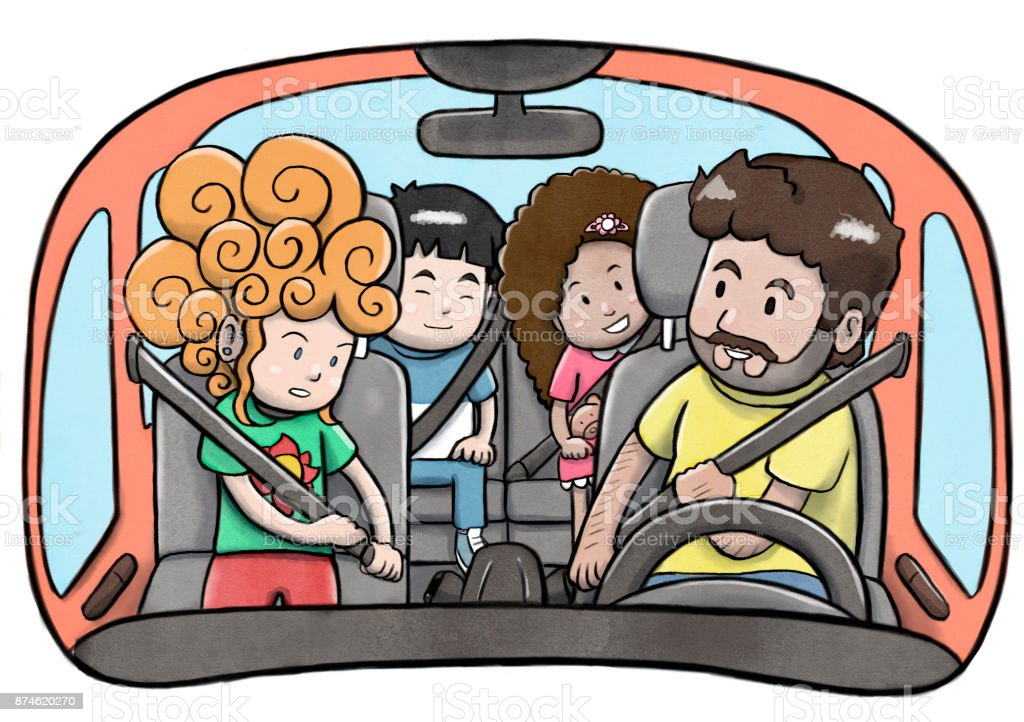 Father and three children in a car using safety belts and preparing to drive vector art illustration