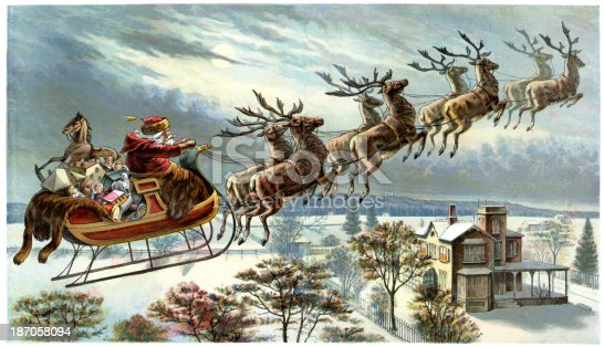 Vintage colour lithograph from 1898 showing Father Christmas and his reindeer flying through the sky
