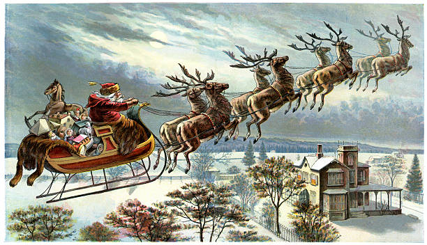 Image result for vintage santa and his reindeer