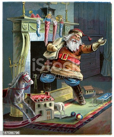 Vintage colour lithograph from 1898 showing Father Christmas going up the Chimney