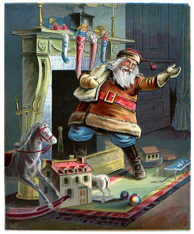 Father Christmas going up the Chimney