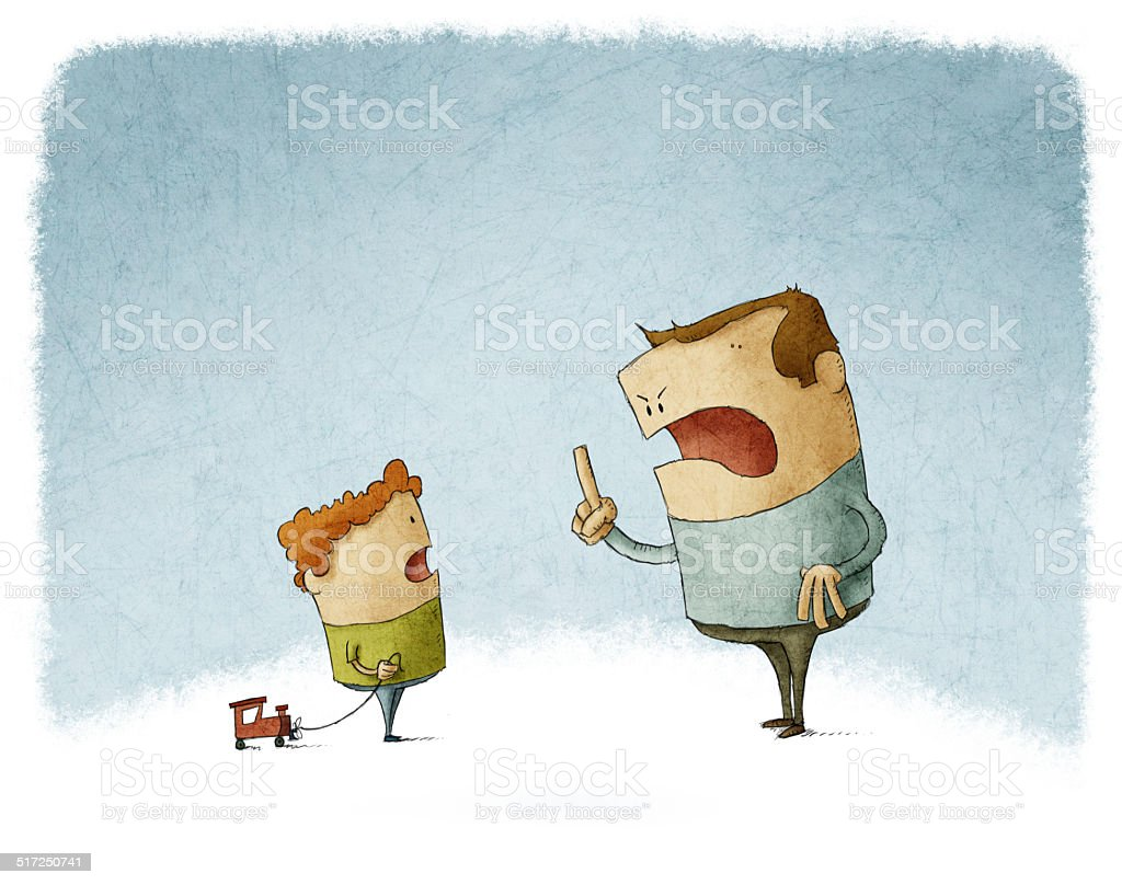 Father scold and shout at his son vector art illustration