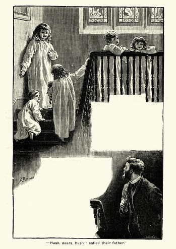 Father telling children to be quite at bedtime, Victorian