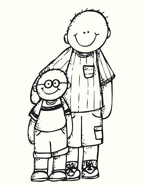 illustrations, cliparts, dessins animés et icônes de père avec son bras autour de qui porte des lunettes - enfants de bande dessinée