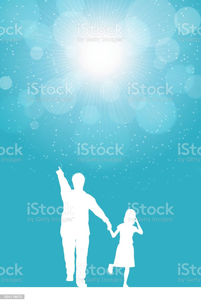 Father's Day background[Father and his daughter silhouette] vector art illustration