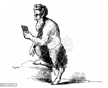 Illustration of a  faun playing the flute