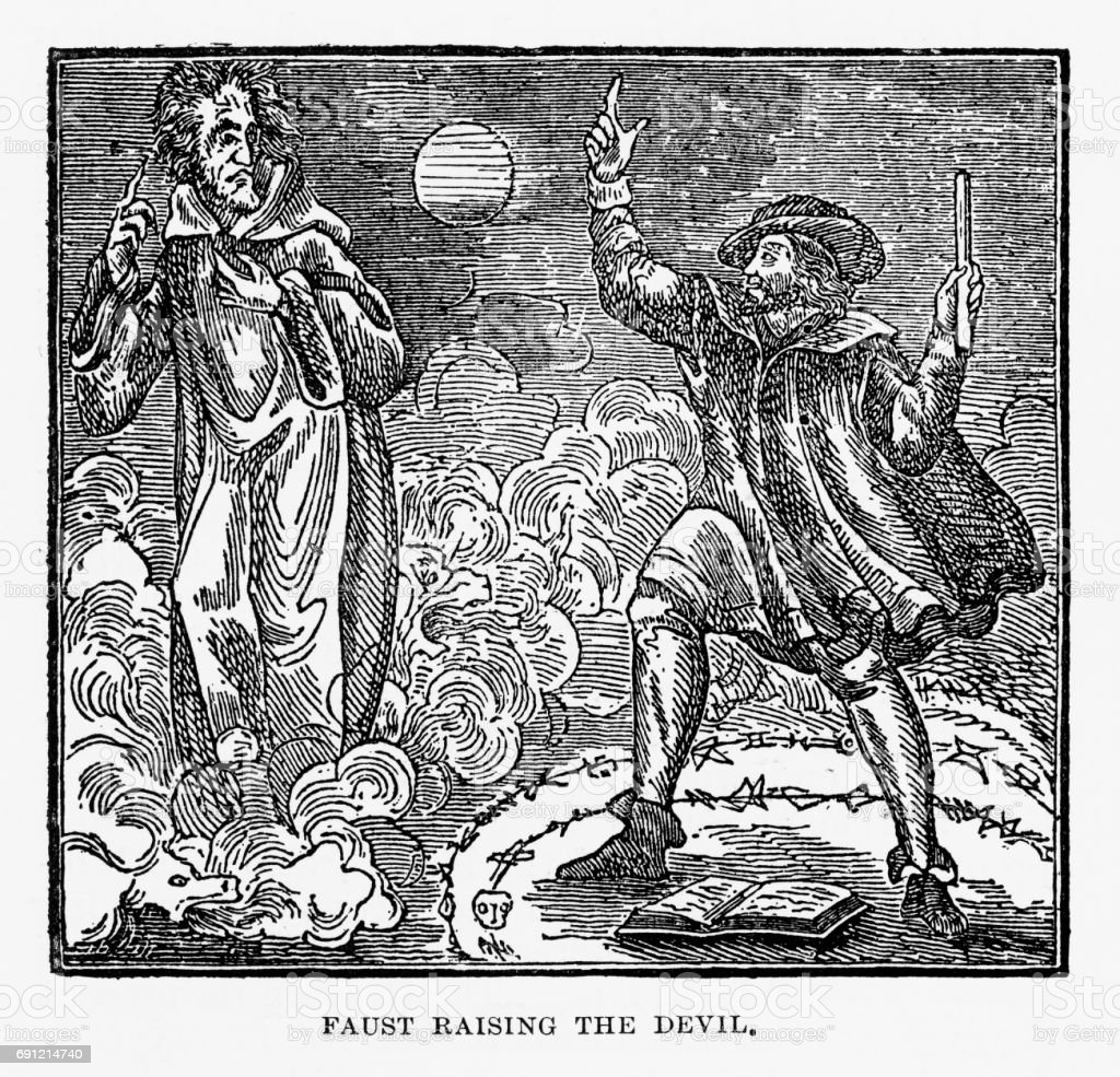 Faust Raising the Devil, Engraving, 1892