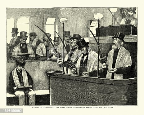 istock Feast of Tabernacles, Sukkot, North London Synagogue, Reader taking the palm branch, 1870s 1316459882