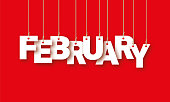 istock February word hanging on the ropes 497536334