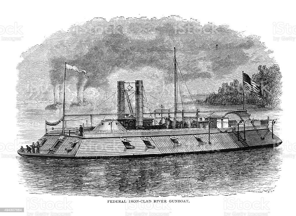 Federal Iron-Clad River Gunboat vector art illustration