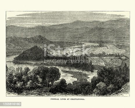 Vintage engraving of Federal lines at Chattanooga, Tennessee, American Civil War