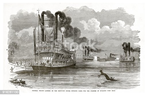 Engraving of Federal Troops Landing on the Kentucky Shore, Opposite Cairo, for the Purpose of Building Fort Holt, Civil War Engraving from