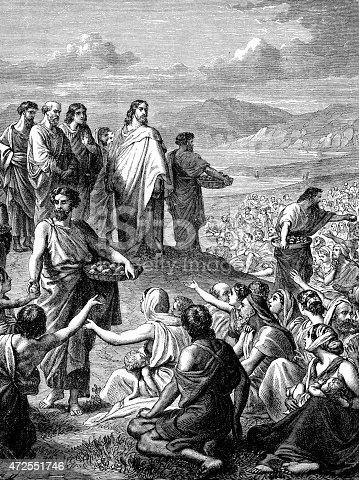 An engraved vintage illustration image of Jesus Feeding of the Multitude, also known as the Feeding of the Five Thousand of the New Testament Bible from a Victorian book dated 1883 that is no longer in copyright